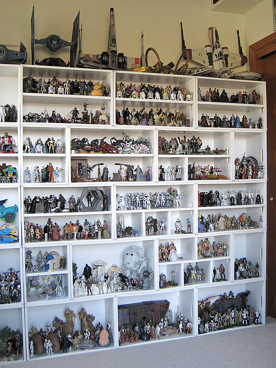 Right side of toy collection wall.